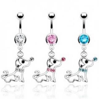 Piercing do pupku psík s obojkom zo zirkónov - Farba zirkónu: Aqua modrá - Q