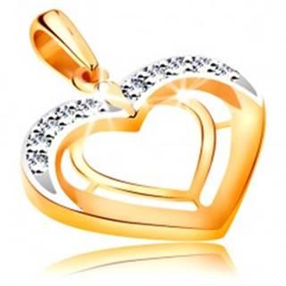 Prívesok v 14K zlate - dve srdcové kontúry v dvojfarebnom prevedení, zirkóny