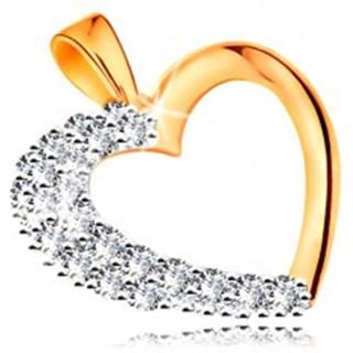 Prívesok zo 14K zlata - ligotavá kontúra srdca so zirkónovou polovicou