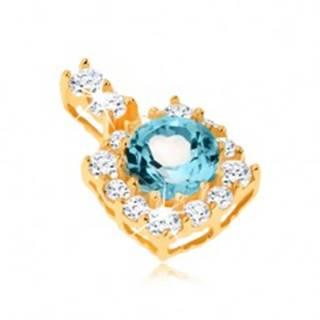 Prívesok zo žltého 9K zlata - štvorcový zirkónový obrys, okrúhly modrý topás
