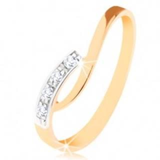 Prsteň v 9K zlate - nepravidelne zahnuté konce ramien, číre zirkóny - Veľkosť: 49 mm