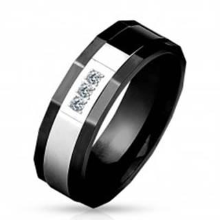 Prsteň z chirurgickej ocele, čierna a strieborná farba, tri číre zirkóny, 8 mm - Veľkosť: 59 mm