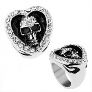Prsteň z chirurgickej ocele, srdce zdobené čírymi zirkónmi, patinovaná lebka - Veľkosť: 56 mm