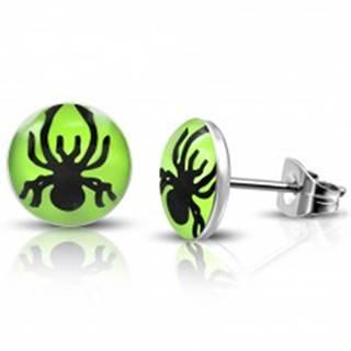 Puzetové náušnice z ocele - pavúčik v zelenom koliesku
