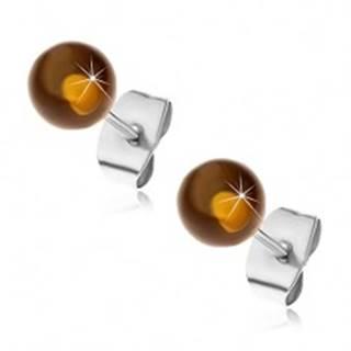 Puzetové oceľové náušnice, polopriehľadné žltohnedé guličky, 6 mm