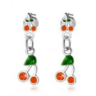 Strieborné 925 náušnice, čerešničky zdobené oranžovou a zelenou glazúrou