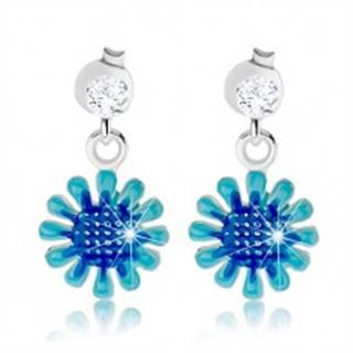 Strieborné náušnice 925, visiaci kvet v odtieňoch modrej farby, číry zirkón