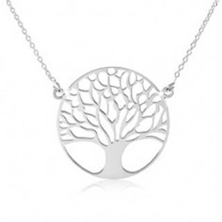 Strieborný náhrdelník 925, jemná retiazka, strom života