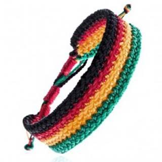 Viacfarebný pletený náramok - rastafariánsky motív