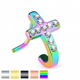 Zahnutý oceľový piercing do nosa, kríž so vsadenými čírymi zirkónikmi - Farba piercing: Čierna