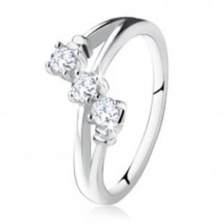 Zásnubný prsteň zo striebra 925, šikmá línia troch čírych zirkónov - Veľkosť: 49 mm