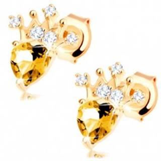 Zlaté náušnice 585 - zirkónová korunka, svetložltý srdiečkový citrín