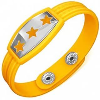 Žltý gumený náramok - hviezdy na známke, grécky kľúč