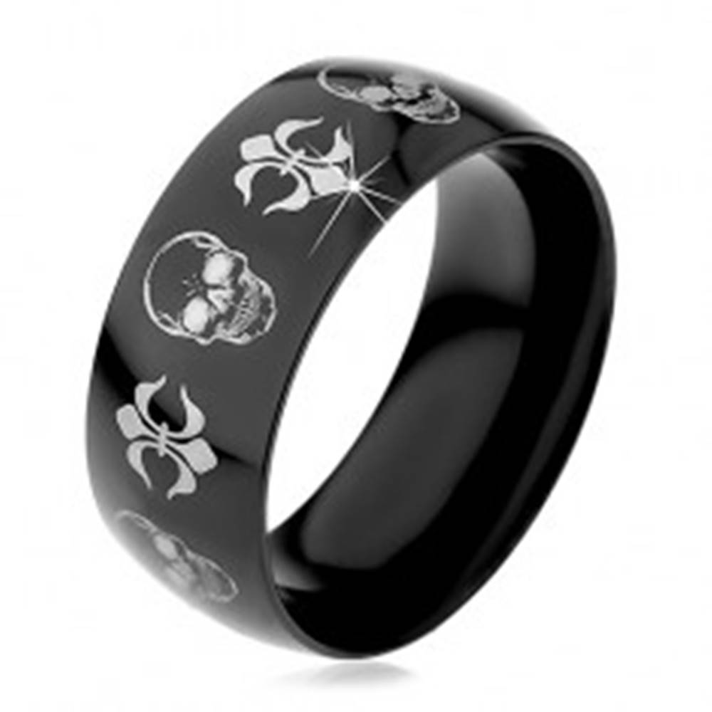 Šperky eshop Čierna oceľová obrúčka, lebky a symboly Fleur de Lis striebornej farby, 9 mm - Veľkosť: 59 mm