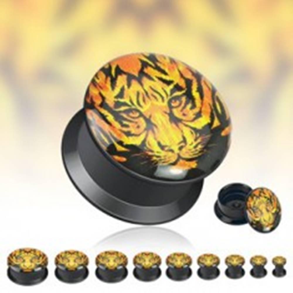 Šperky eshop Čierny tunnel do ucha - tvár tigra - Hrúbka: 10 mm