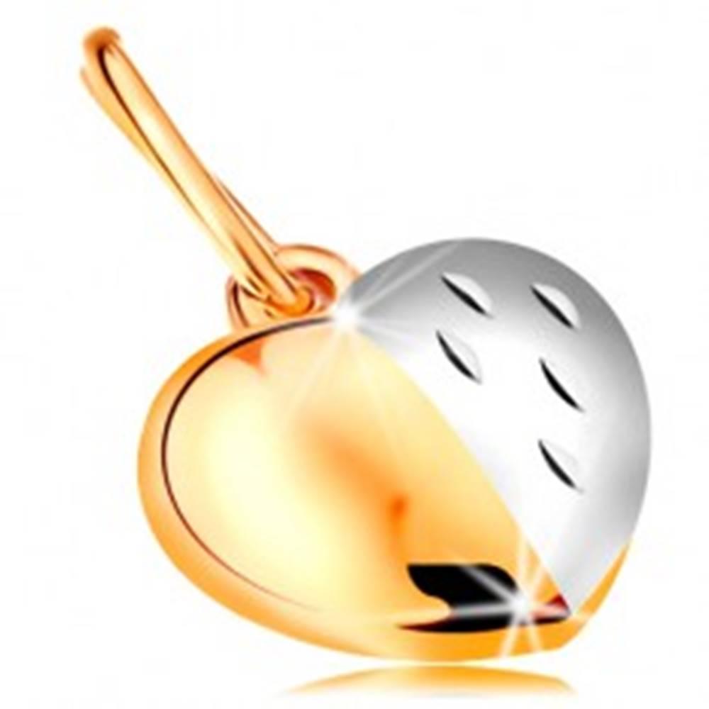 Šperky eshop Dvojfarebný prívesok zo 14K zlata - lesklo-matné srdce zdobené zárezmi