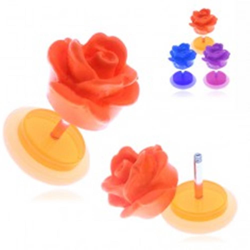 Šperky eshop Falošný akrylový piercing do ucha - matná farebná ruža - Farba piercing: Fialová