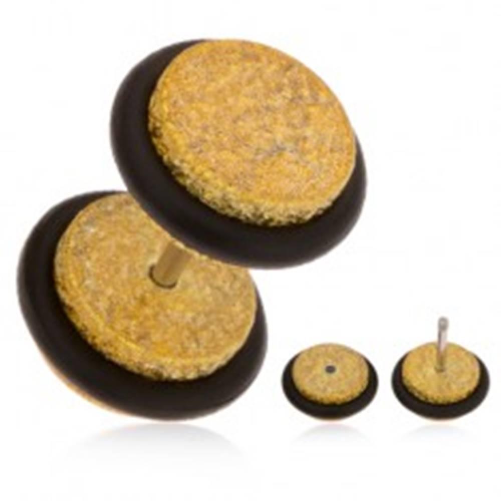 Šperky eshop Falošný plug do ucha z akrylu, trblietavý povrch zlatej farby, gumičky