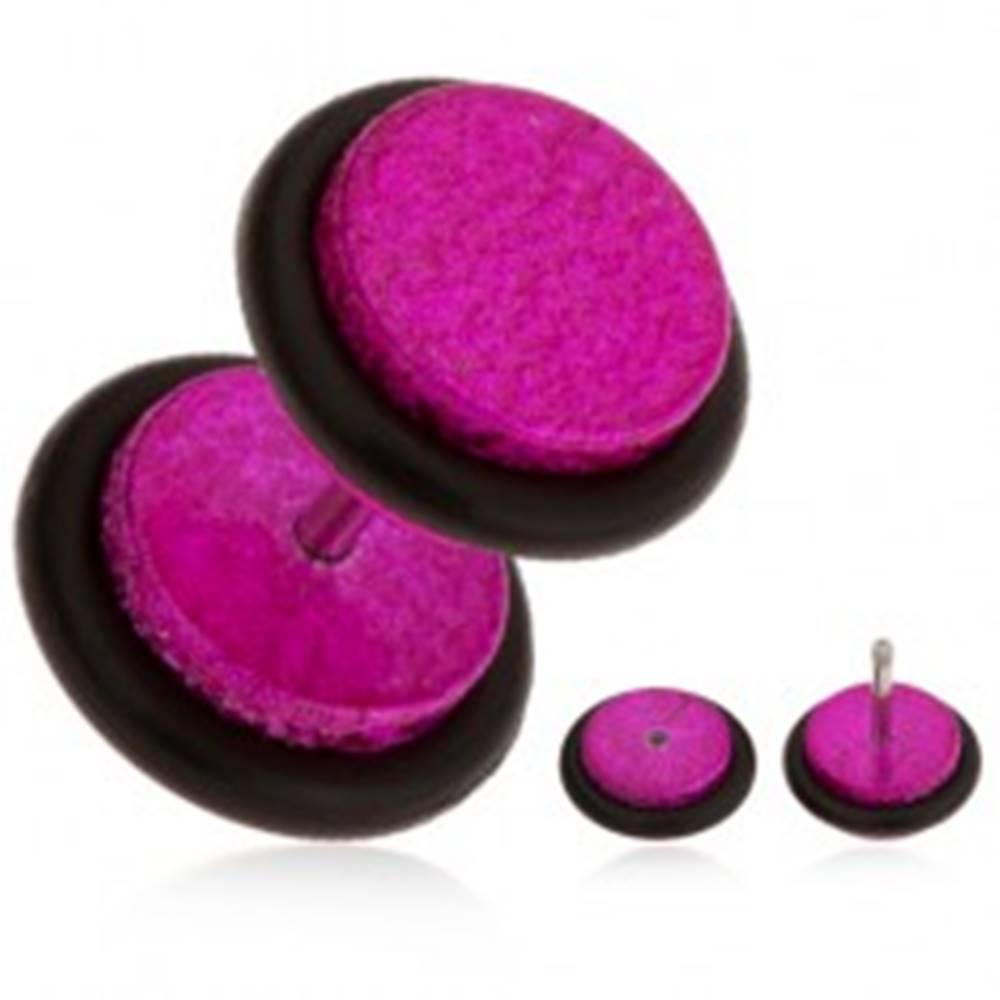 Šperky eshop Fuksiový fake plug do ucha z akrylu, pieskovaný povrch, gumičky