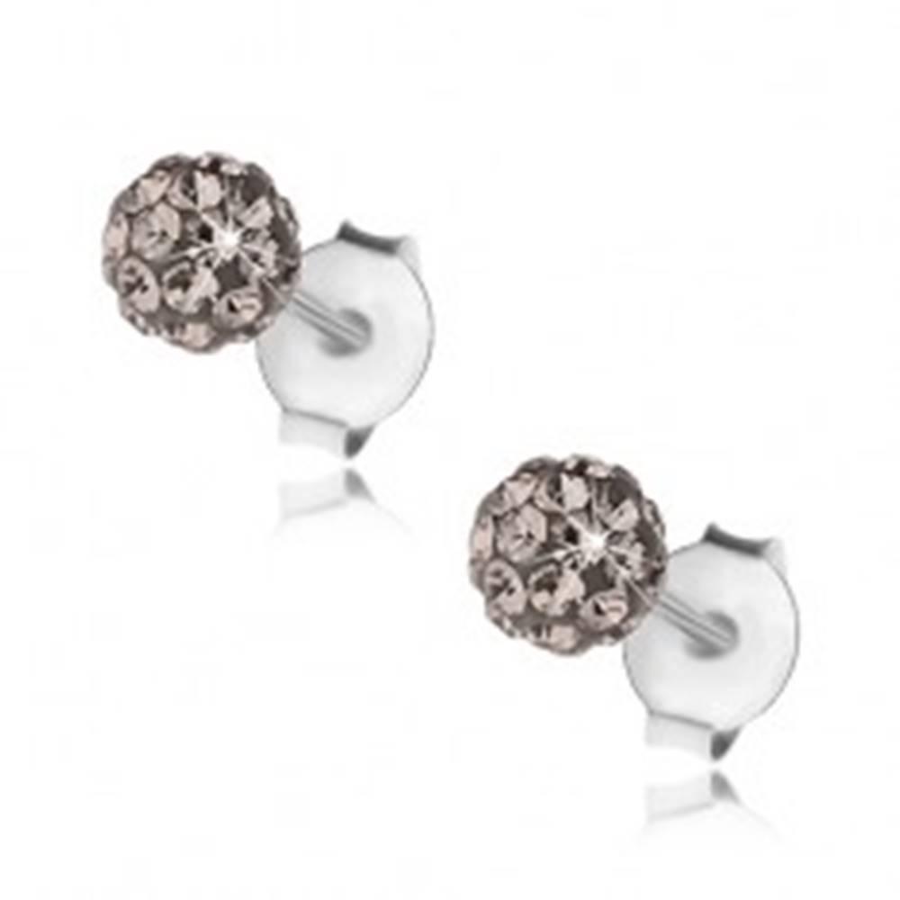 Šperky eshop Guličkové náušnice zo striebra 925, oceľovo sivé krištáliky Preciosa, 4 mm