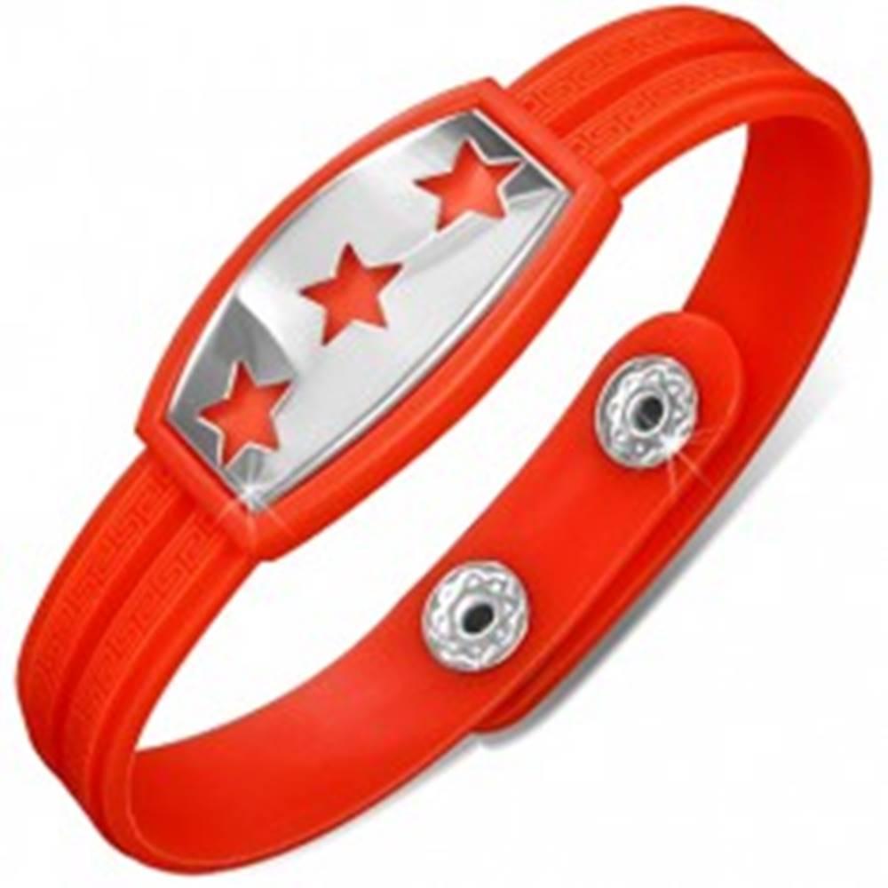 Šperky eshop Gumený náramok červenooranžový, známka s hviezdami