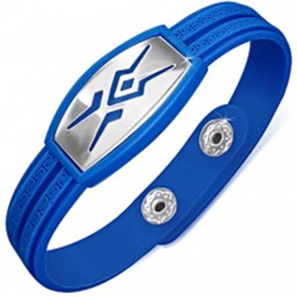 Šperky eshop Gumený náramok modrej farby, známka s tribal vzorom