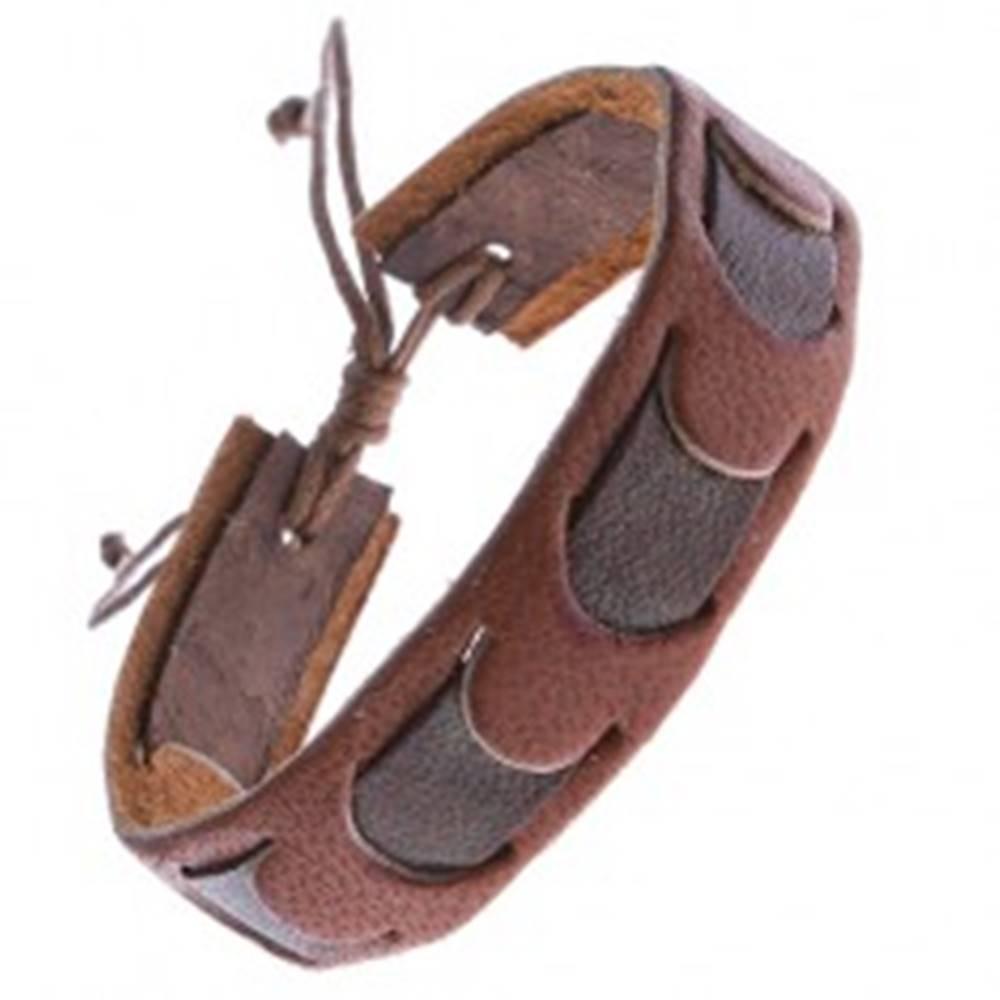 Šperky eshop Karamelový kožený náramok s tmavým pruhom