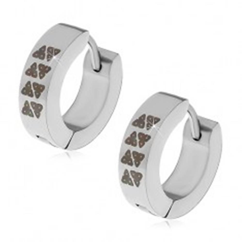 Šperky eshop Kĺbové náušnice z ocele 316L, strieborná farba, obruče s čiernymi trojuholníkmi