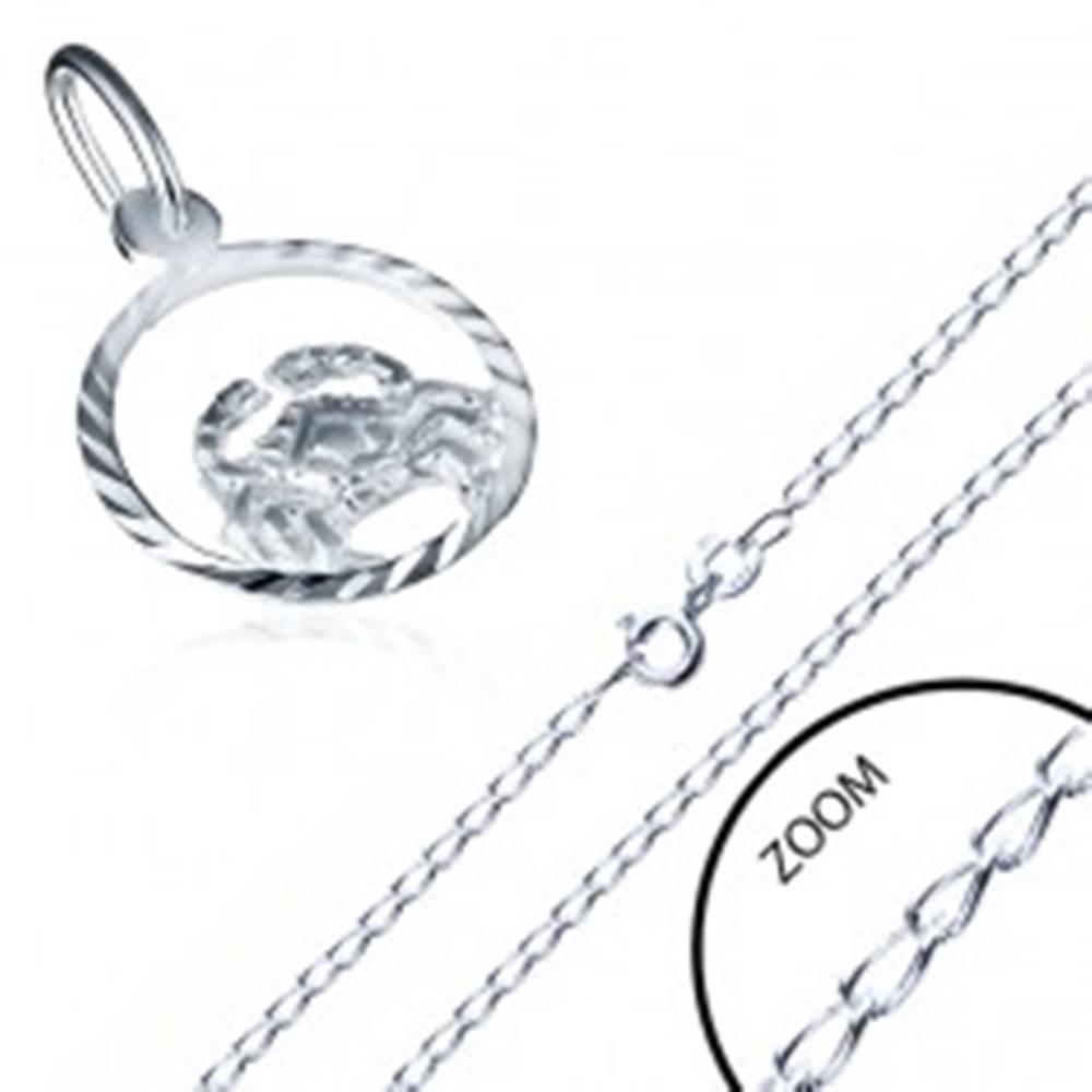 Šperky eshop Lesklá strieborná retiazka 925 a prívesok znamenia RAK
