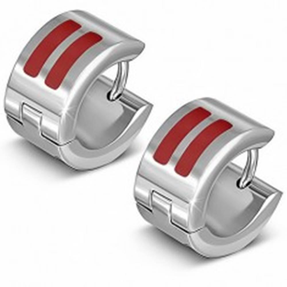 Šperky eshop Lesklé kruhové náušnice z ocele s dvomi červenými pásmi