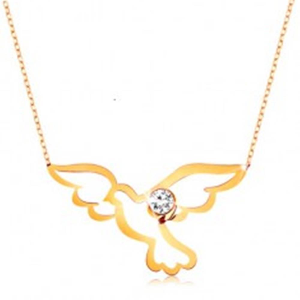 Šperky eshop Náhrdelník v žltom 9K zlate - lesklý symbol holubice s čírym zirkónikom, retiazka