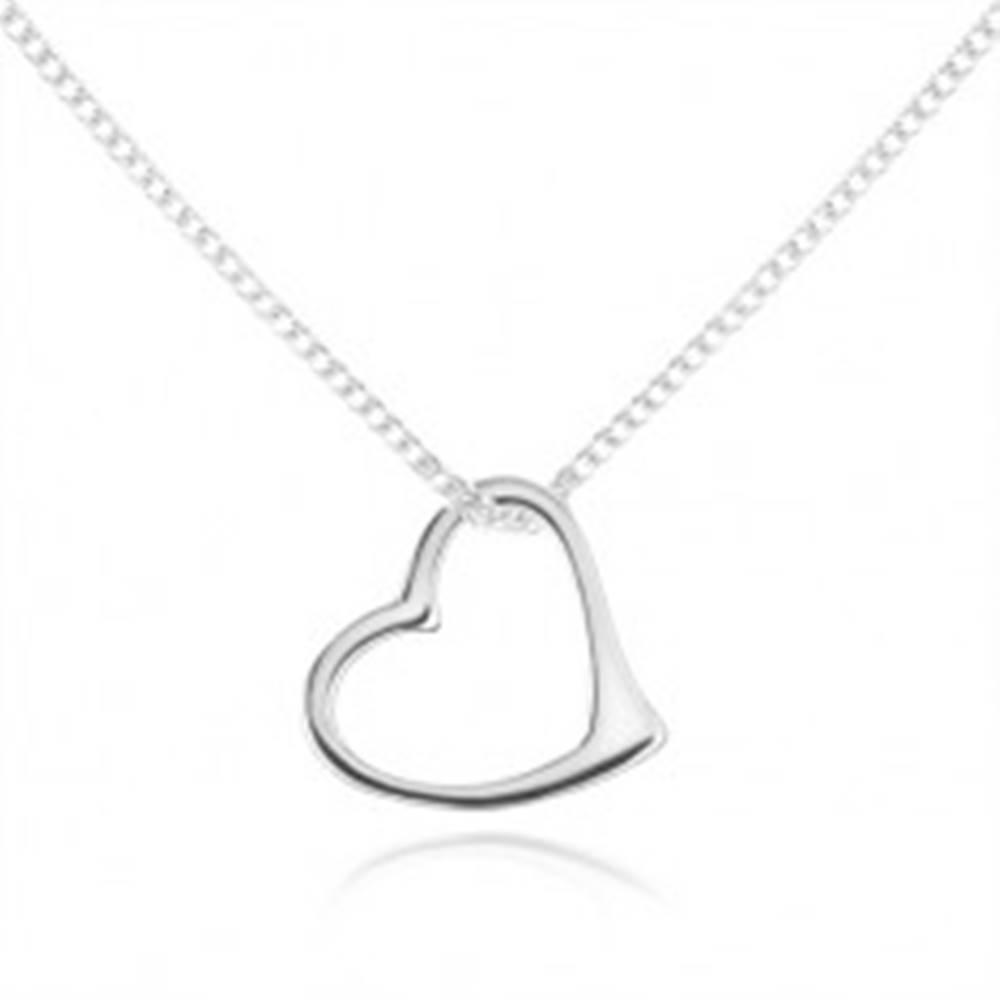 Šperky eshop Náhrdelník zo striebra 925, jemná retiazka, kontúra asymetrického srdca