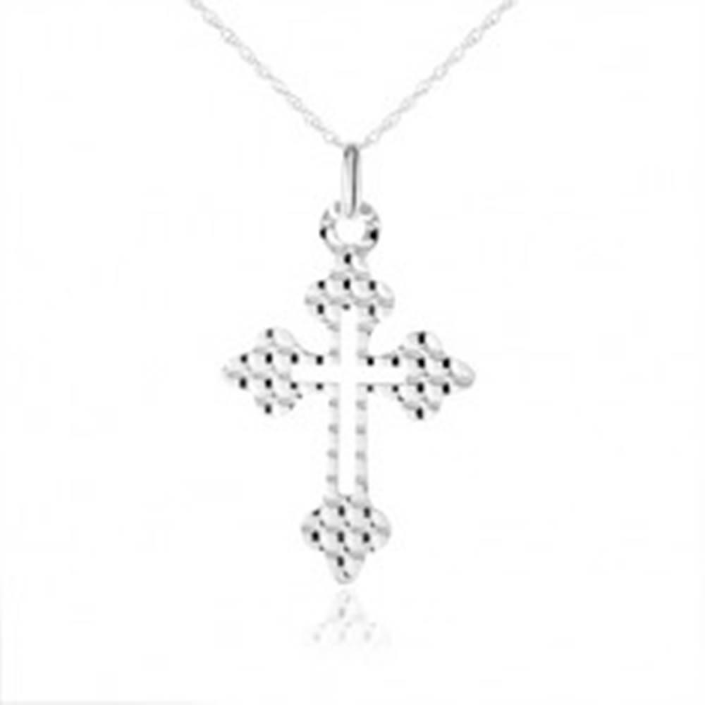 Šperky eshop Náhrdelník zo striebra 925, kríž - ozdobné ramená, guličky na povrchu