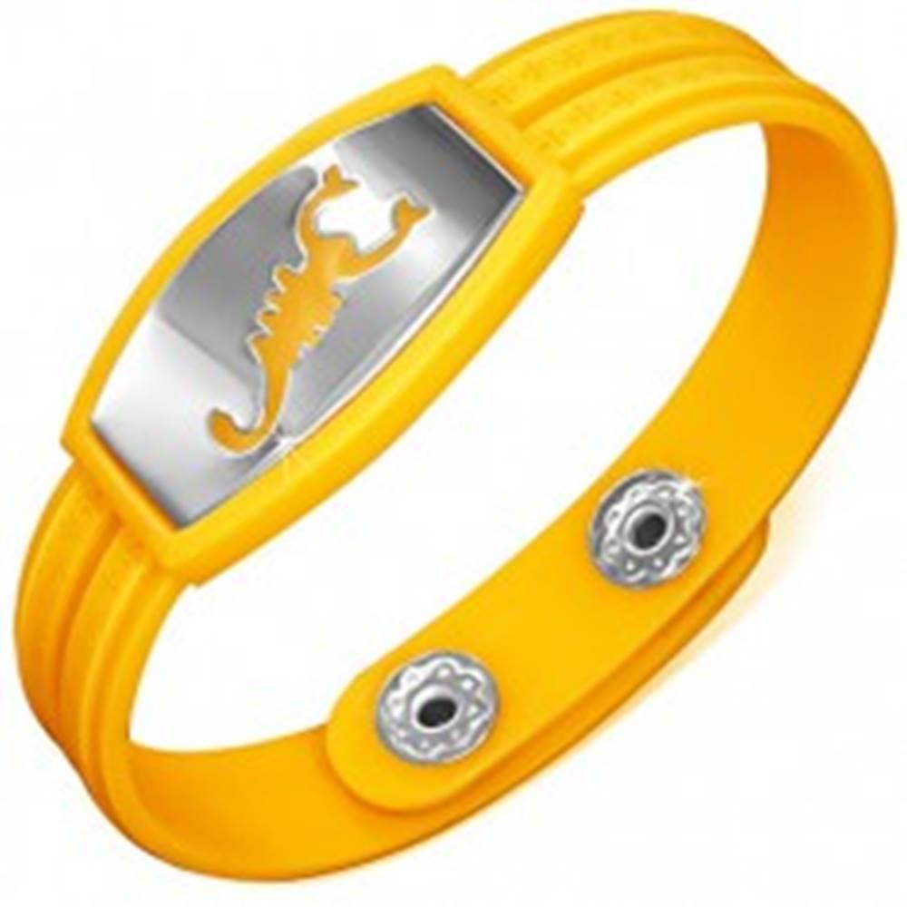Šperky eshop Náramok vyrobený z gumy - žlté prevedenie, grécky motív, škorpión