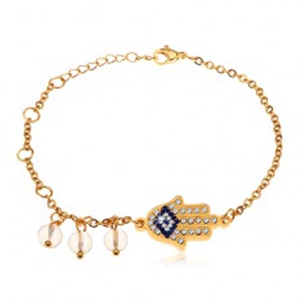 Šperky eshop Náramok z chirurgickej ocele, zlatý odtieň, modro-číra ruka Hamsa, číre korálky