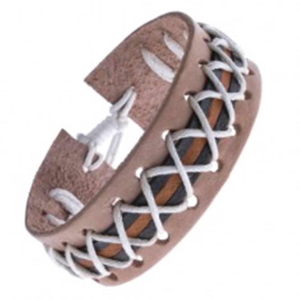 Šperky eshop Náramok z kože - béžový, tri pásy a biele skrížené šnúrky