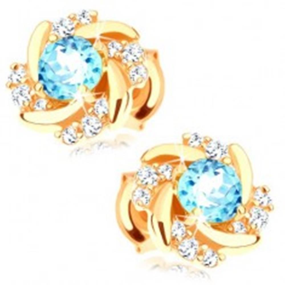 Šperky eshop Náušnice v žltom 14K zlate - okrúhly kvet s modrým topásom a zirkónikmi