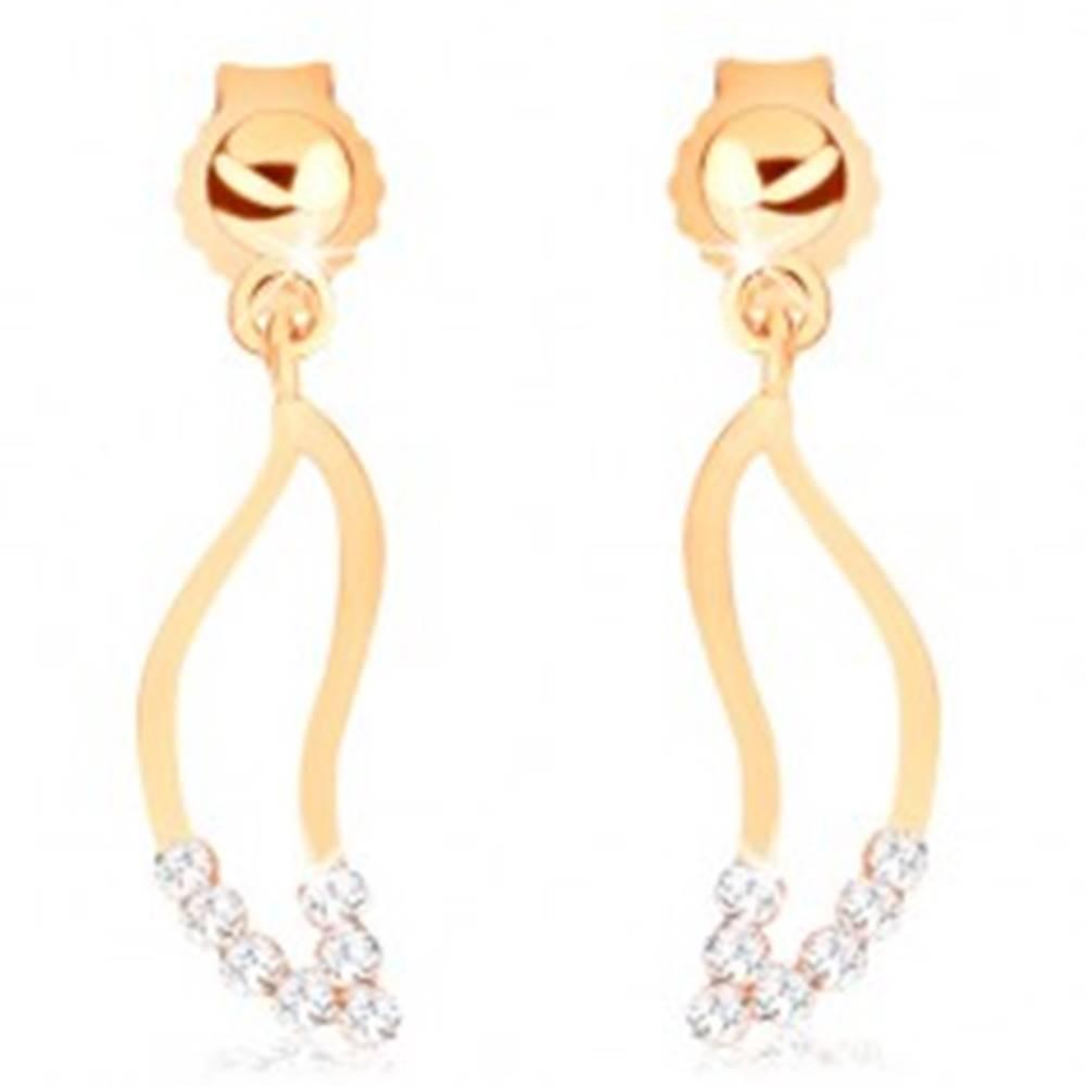 Šperky eshop Náušnice v žltom 9K zlate - obrys širokej vlnky, číre zirkóniky