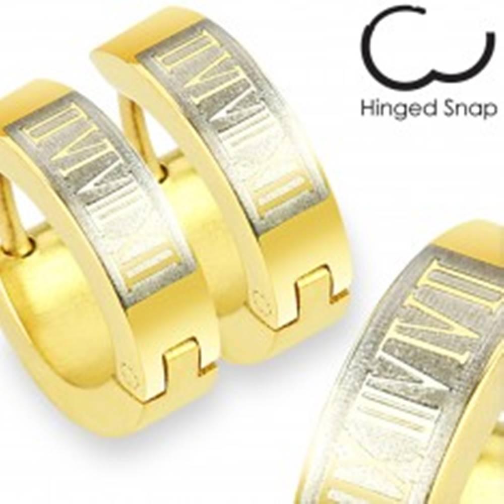 Šperky eshop Náušnice z ocele 316L - krúžky v zlatom odtieni, obdĺžnik a rímske číslice