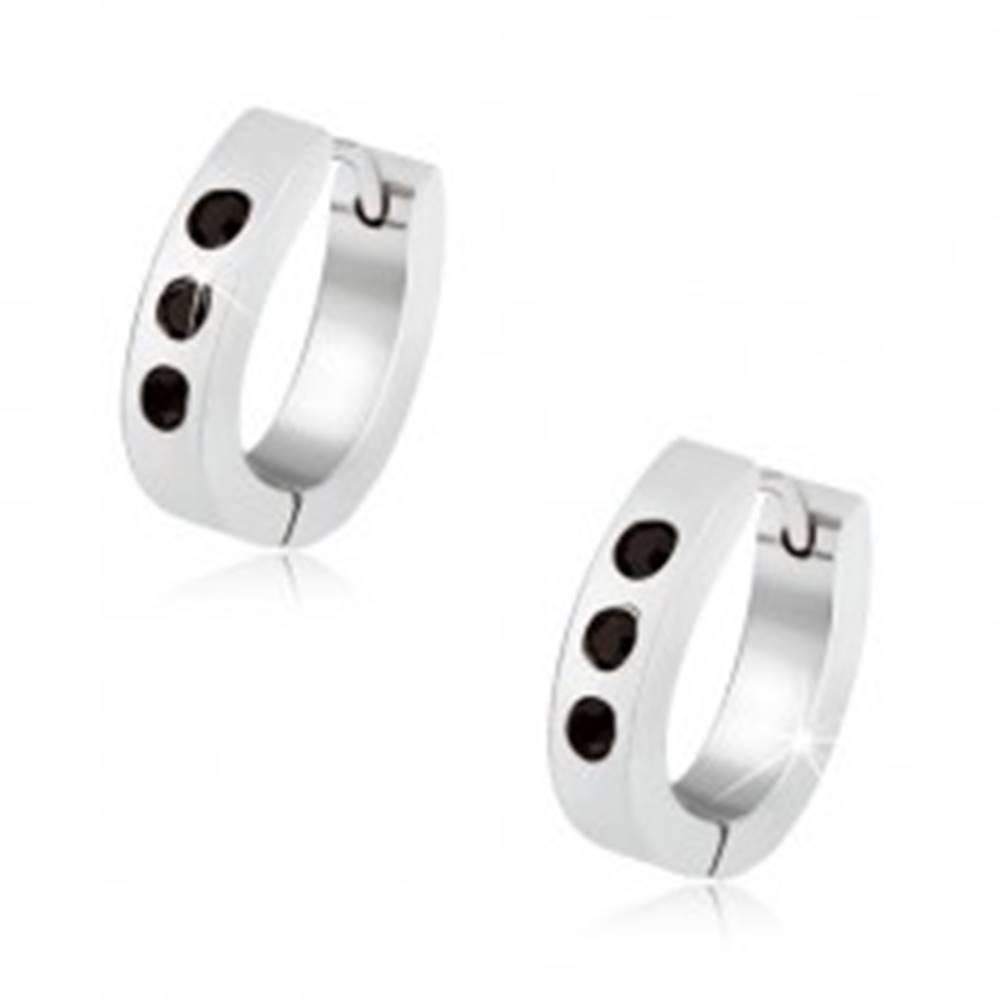 """Šperky eshop Náušnice z ocele striebornej farby, tvar """"U"""", tri čierne brúsené zirkóny"""