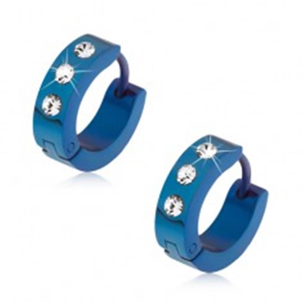 Šperky eshop Náušnice z ocele, tmavomodrá farba, lesklý povrch, tri číre kamienky