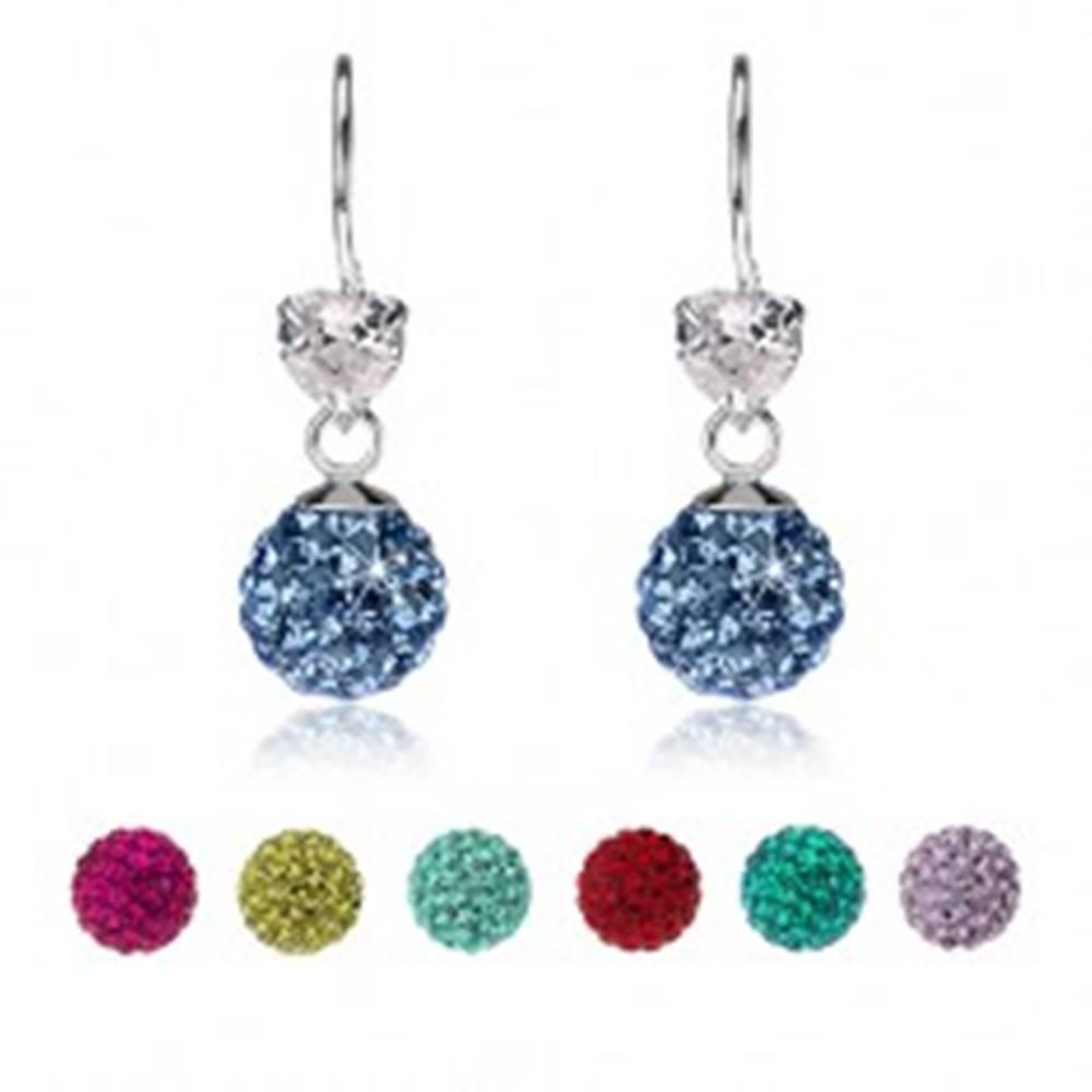 Šperky eshop Náušnice zo striebra 925, číre srdiečko, trblietavá gulička s Preciosa krištáľmi - Farba: Aqua modrá