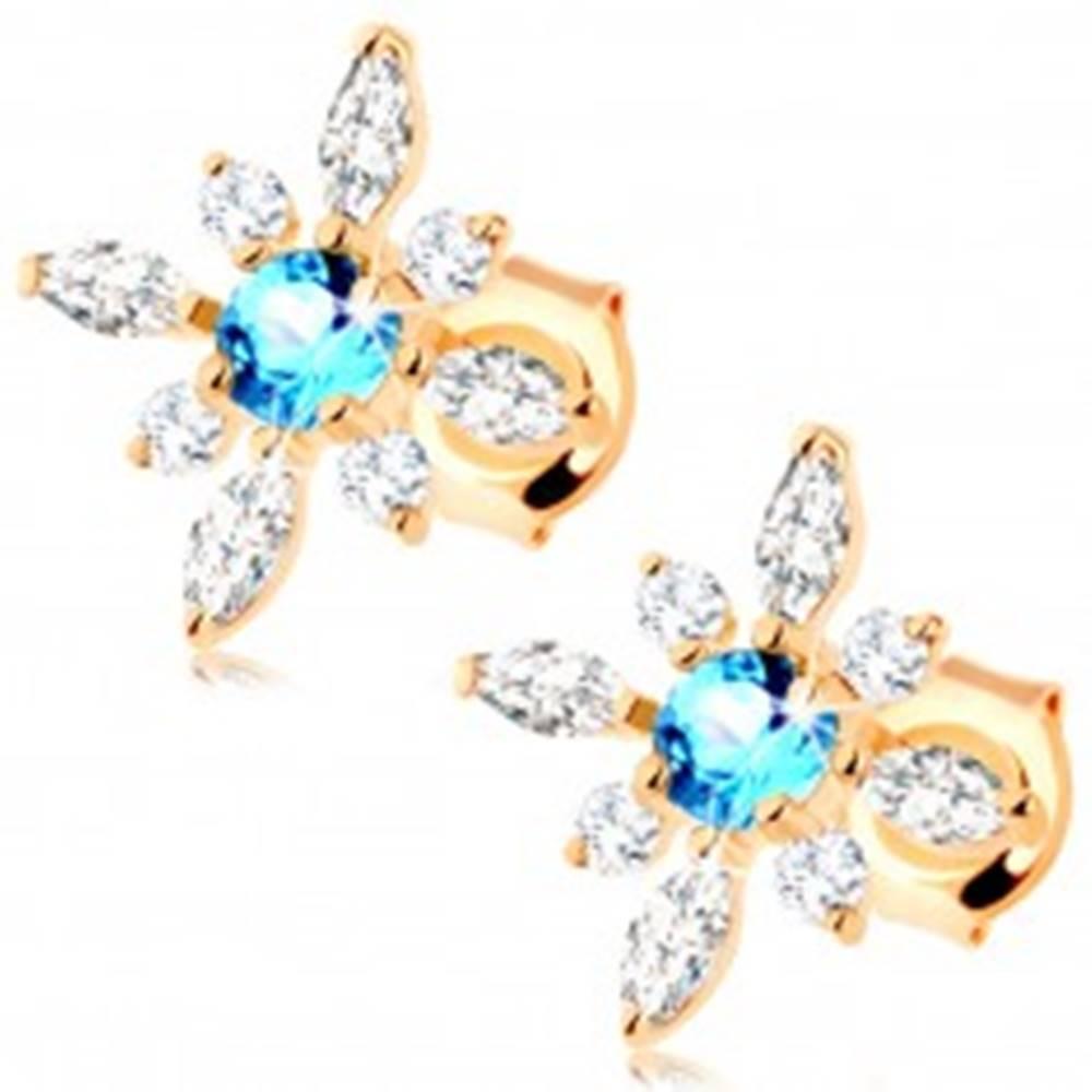 Šperky eshop Náušnice zo žltého zlata 585 - kvietok z čírych zirkónov a modrého topásu