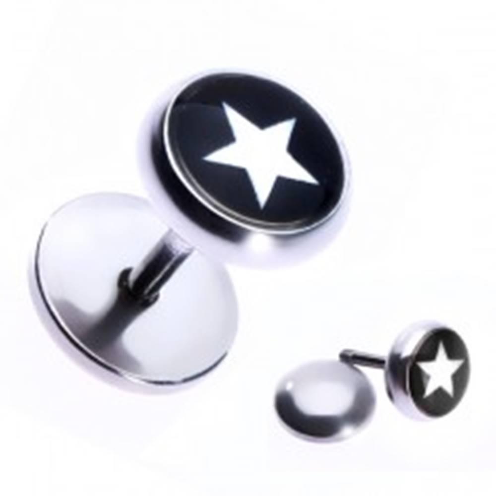 Šperky eshop Nepravý oceľový piercing do ucha s hviezdou v čiernom kruhu