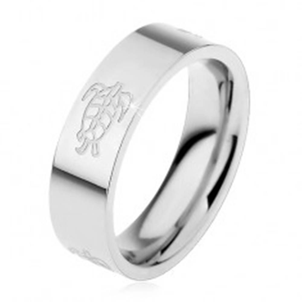 Šperky eshop Obrúčka z chirurgickej ocele s lesklým povrchom a motívom korytnačiek, 6 mm - Veľkosť: 49 mm