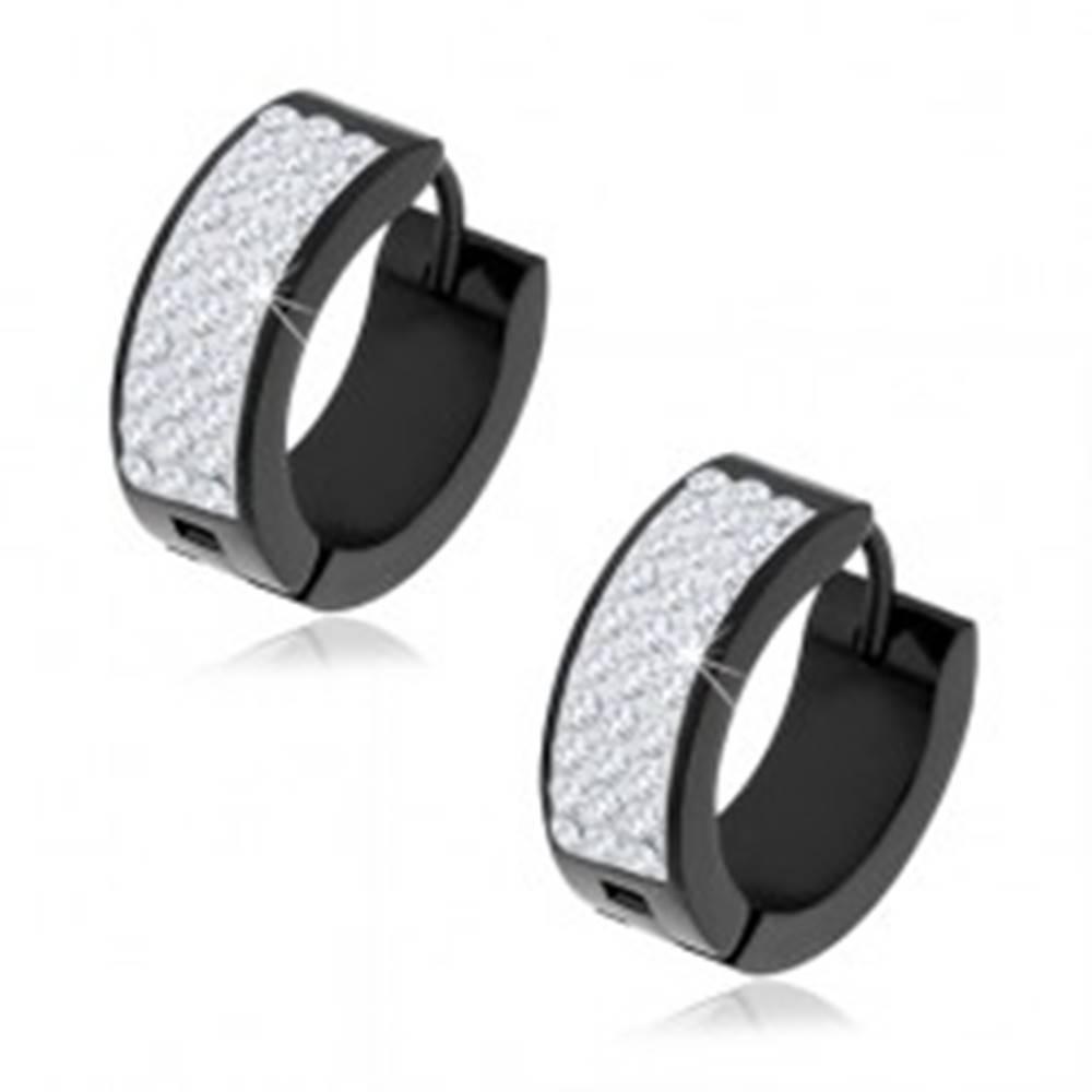 Šperky eshop Oceľové náušnice čiernej farby, ligotavý pásik s čírymi zirkónmi