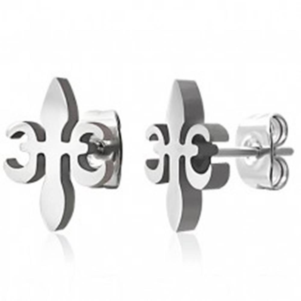 Šperky eshop Oceľové náušnice - kríž z ľalie