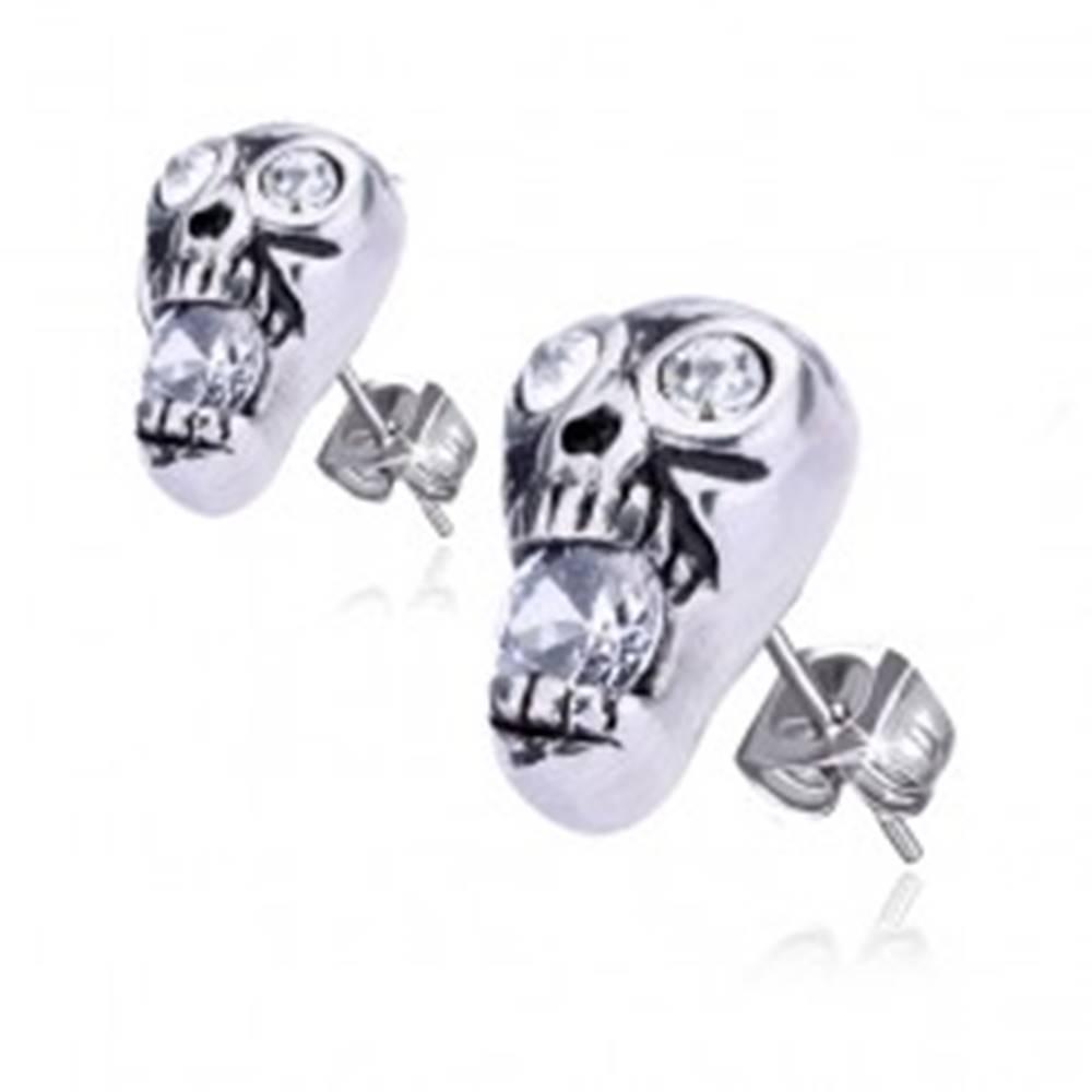 Šperky eshop Oceľové náušnice - lebka zdobená okrúhlymi zirkónmi
