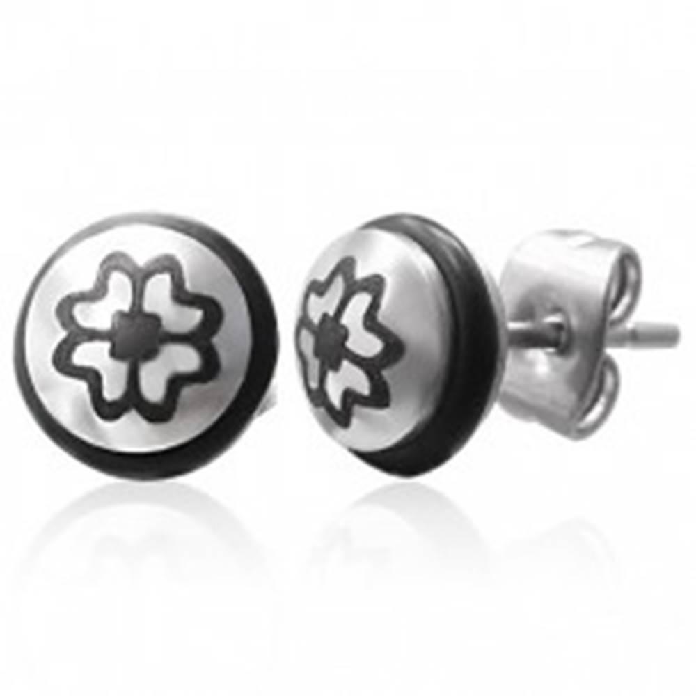Šperky eshop Oceľové náušnice so symbolom štvorlístka a čiernou gumičkou