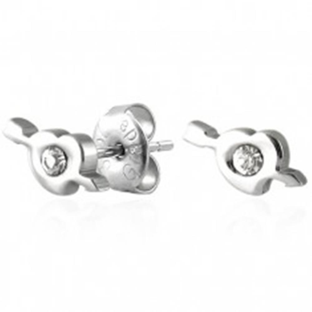 Šperky eshop Oceľové náušnice srdiečko a amorov šíp so zirkónom